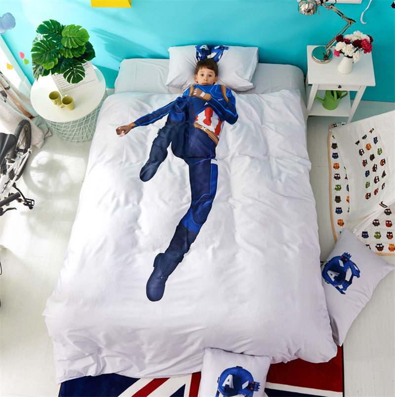boy Cartoon personality 3D Super hero white 100% cotton Bedding Set Duvet Cover Bed Linen Bed sheet Pillowcases Gift For Child