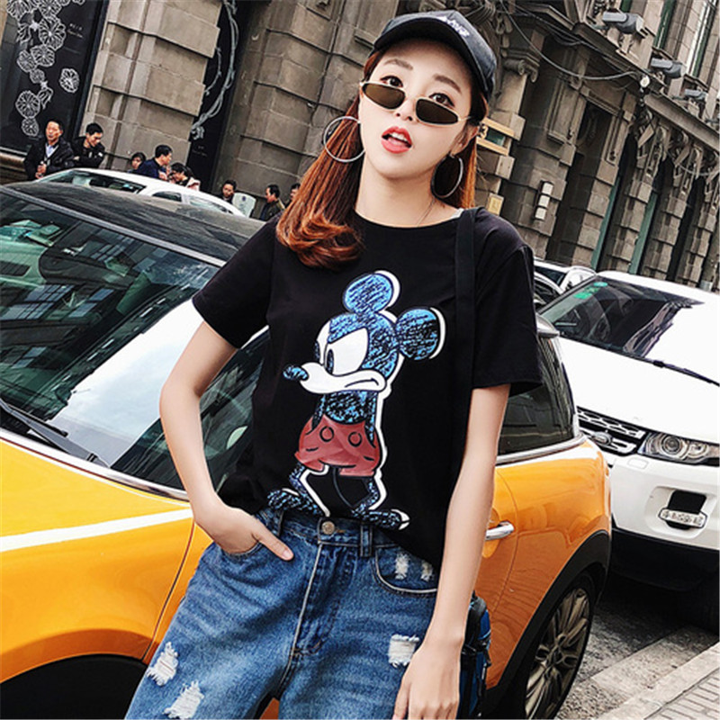 2019 Summer New Women's T-shirt Fashion Casual Mickey Mouse Printing Round Neck Short Sleeve Loose Female Tshirts 1