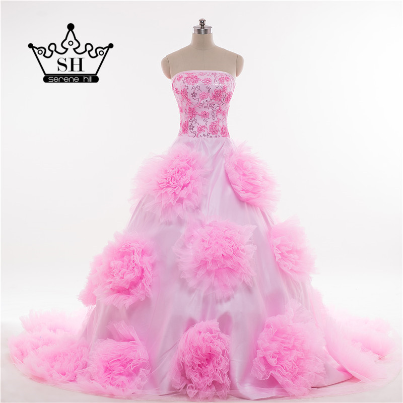 2018 Real Photo Pink Big Flower Hater Photography Corset Wedding Dress Ball Gown Ruffles HA2049 In Dresses From Weddings Events On
