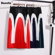 Banulin 2019 Color block Patchwork Midi Skirt England Style High Waist A-Line Pleated Skirt Office Lady Elegant Summer Skirts недорого