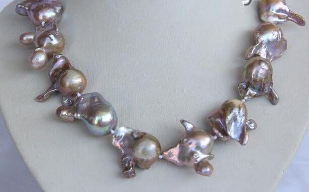 RHJ00117 baroque purple keshi reborn freshwater pearl necklace