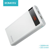 20000mAh ROMOSS Sense 6P Power Bank Dual USB Portable External Battery With LED Display Fast Portable Charger For Phones Tablet(China)