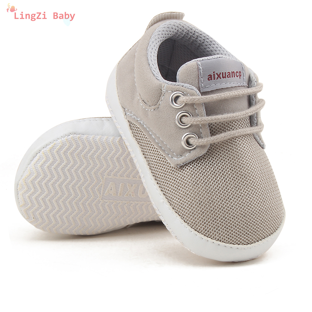 Toddler Newborn Baby Shoes Breathable Mesh Baby Toddler Child Autumn Spring Soft Bottom Lace-up Unisex Baby Shoes Baby Boy Shoes image
