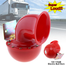 12V 115dB Red Bull Horns Electric Raging Air Horn Multi-tone and Claxon for Car Truck Motorcycle Boat