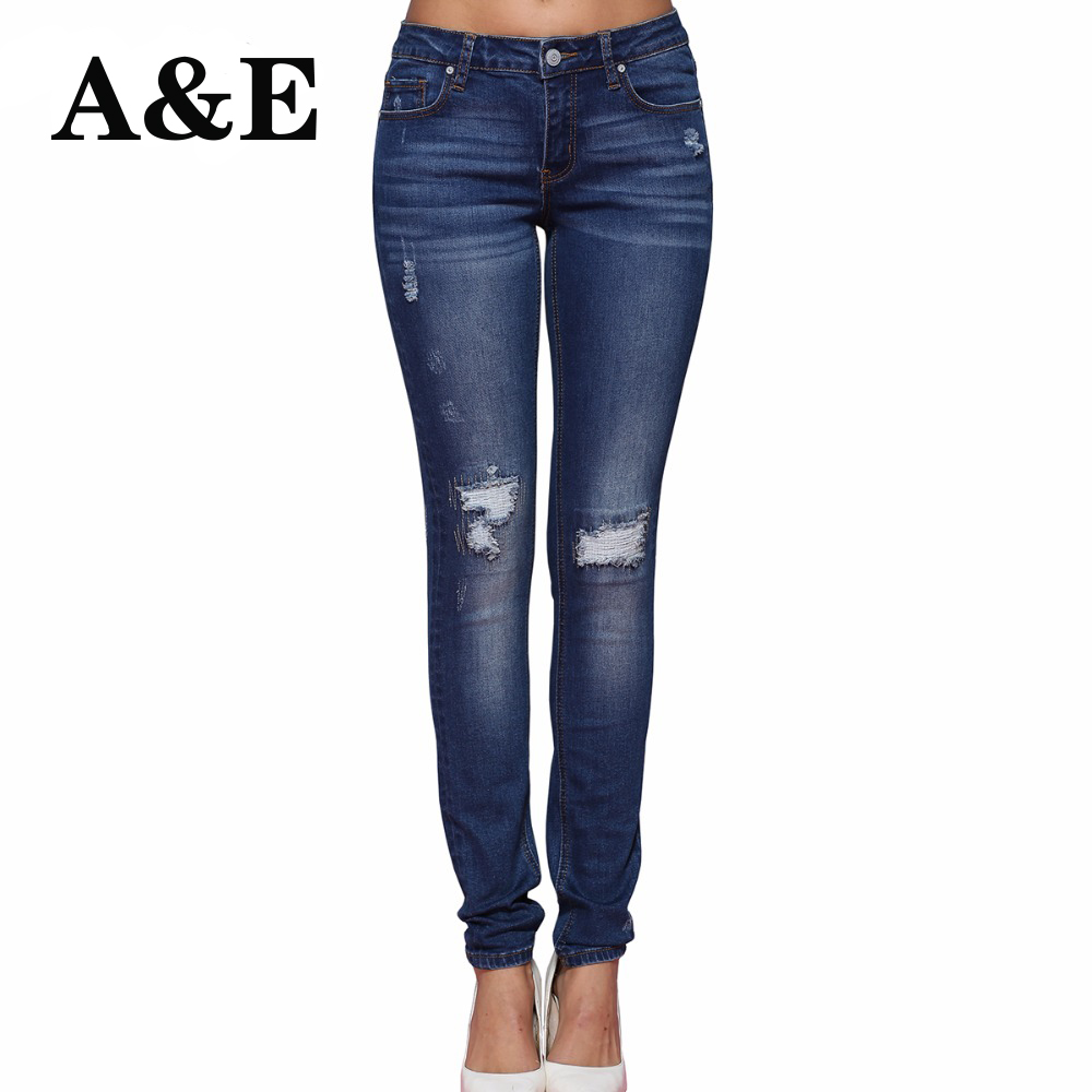 Alice & Elmer Hole Ripped <font><b>Jeans</b></font> Women <font><b>Jeans</b></font> Woman <font><b>Jeans</b></font> For Girls Stretch Mid Waist Skinny <font><b>Jeans</b></font> Female Pants