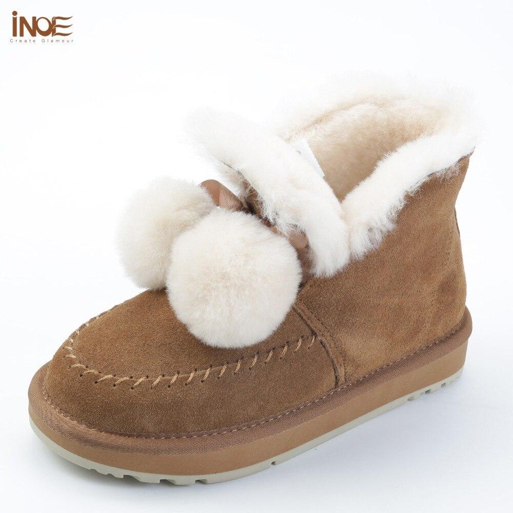 INOE สไตล์ใหม่ cow หนังนิ่มแกะขนสัตว์เรียงรายข้อเท้าหิมะสั้นรองเท้าบูทสำหรับผู้หญิง pom pom ฤดูหนาวรองเท้าสีดำสีเทา-ใน รองเท้าบูทหุ้มข้อ จาก รองเท้า บน   1