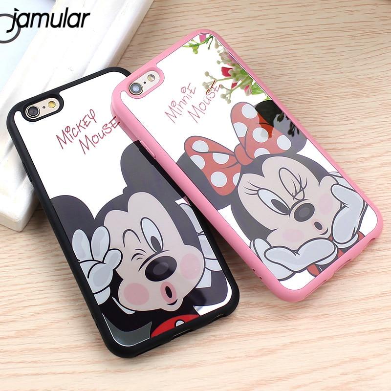 JAMULAR Mickey Minnie Souris Miroir Cas Pour iPhone 8 7 6 s 6 Plus Silicone  de Bande Dessinée Couverture Souple pour iPhone 6 s 7 Plus Fundas Coque 76b5375f2ed8