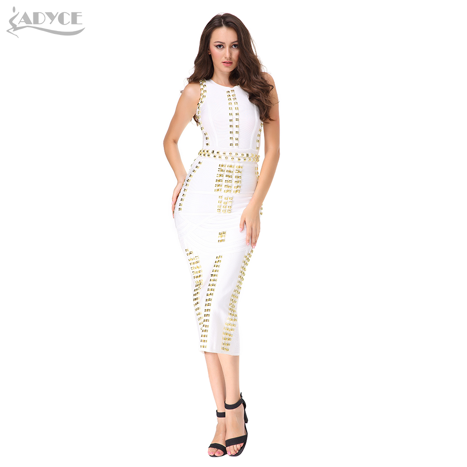 Women Midi Dress 2018 New Kim Kardashian O neck Ankle length Sexy Sleeveless Beading Celebrity Party