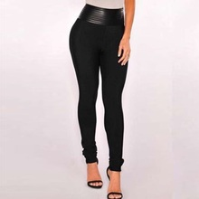 Top Quality HL Celebrity Fashion Black Leather Bodycon Thick Rayon Bandage Pants