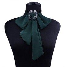 Для женщин шеи колье рубашка с воротником галстук-бабочка, Колледж из шифона для девочек цепи Украшенные стразами бабочка личность лента форма галстук-бабочка