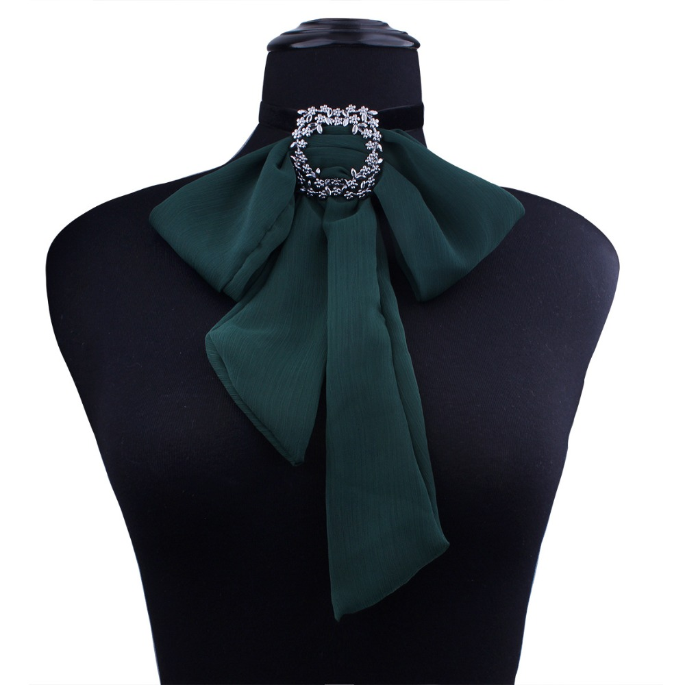 Women Neck Choker Collar Shirt Bow Tie College Girl Chiffon Chain Rhinestone Crystal Butterfly Personality Ribbon Uniform Bowtie