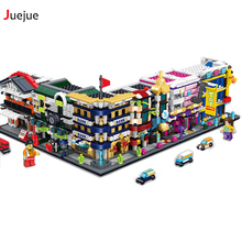 Mini City Street Model Store Series Popcorn Sprite Nail Shop Model Building Blocks Compatible with Legoe Hsanhe Kids Toys Gift