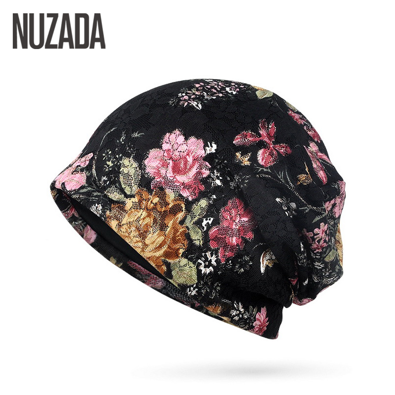 Brand NUZADA Autumn Winter Women Hedging Cap Skullies Beanies Knitting Caps Bonnet Double Layer Cotton Hat Lace Jacquard Cap