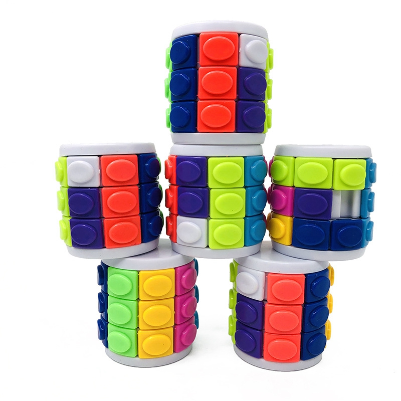 Antistress Puzzle 3D Game Magic Cylinder Cube Brain Teaser Three-dimensional Cube Educational Toys For Children Puzzles For Kids(China)