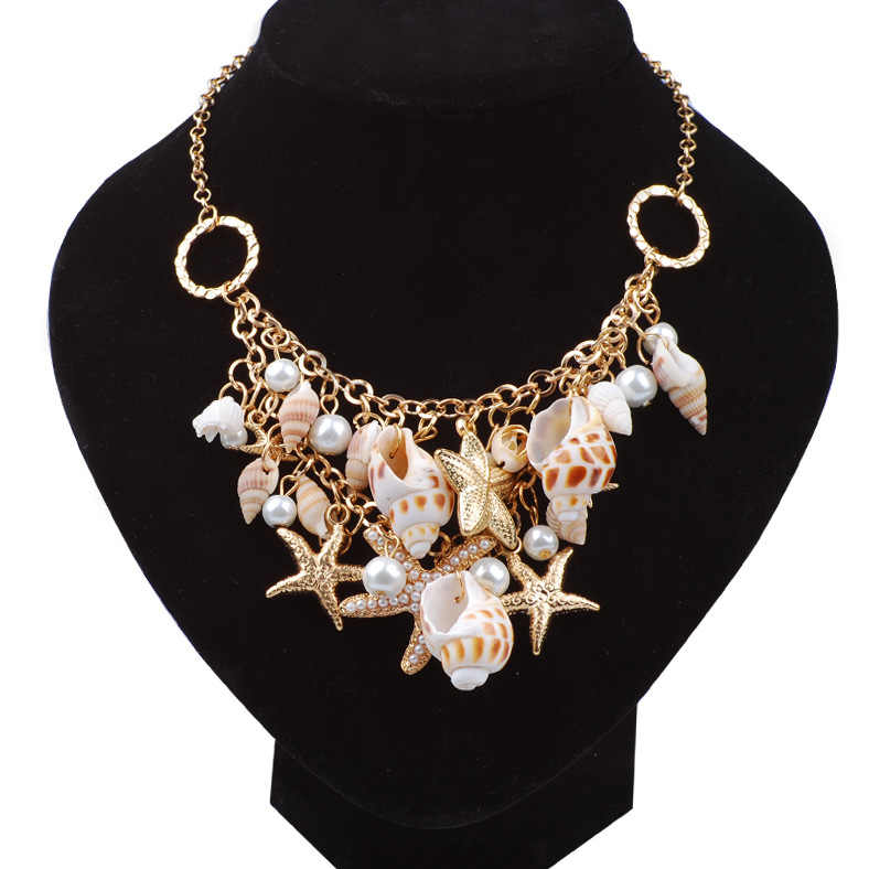 Best Selling Starfish Jewellery sets Charms Imitation Pearl Shell Necklace earrings Boho Gold Color Bracelet Beach Jewelry Set