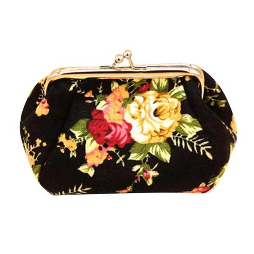 Aelglacial 2019 mode Vintage fleur boucle femmes portefeuille 100% tout nouveau élégant dame rétro embrayage moraillon toile sac Mini porte-monnaie