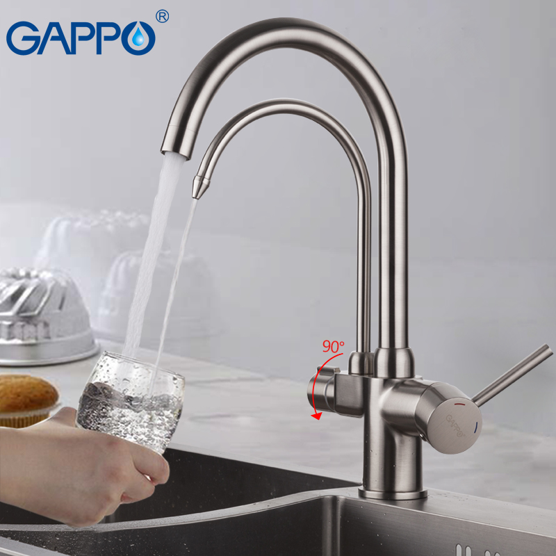 где купить GAPPO Kitchen Faucets drinking water sink faucet mixer rotated retro mixer taps for kitchen waterfall sink taps дешево