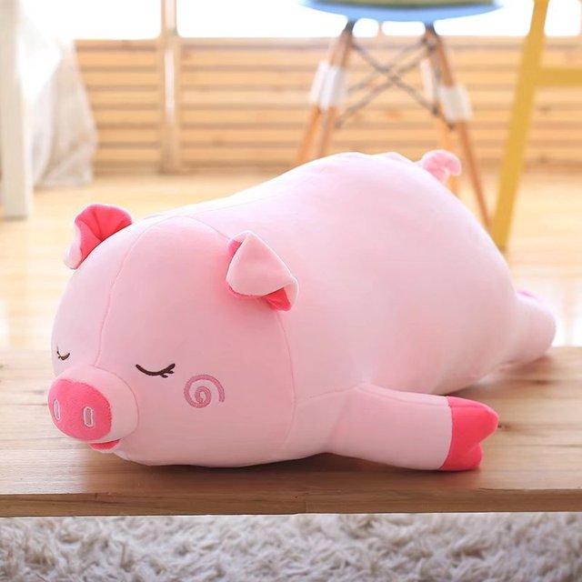 Brinquedo de pelúcia rosa porco porco bonito macio travesseiro dom boneca cerca de 60 cm