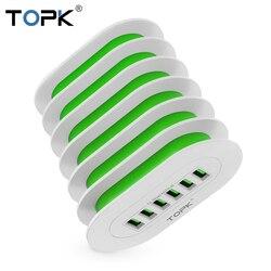 TOPK 5V 7A 6-Ports Desktop USB Charging Multi-port Station Dock Stand EU Plug Universal Phone Charger for Multiple Devices