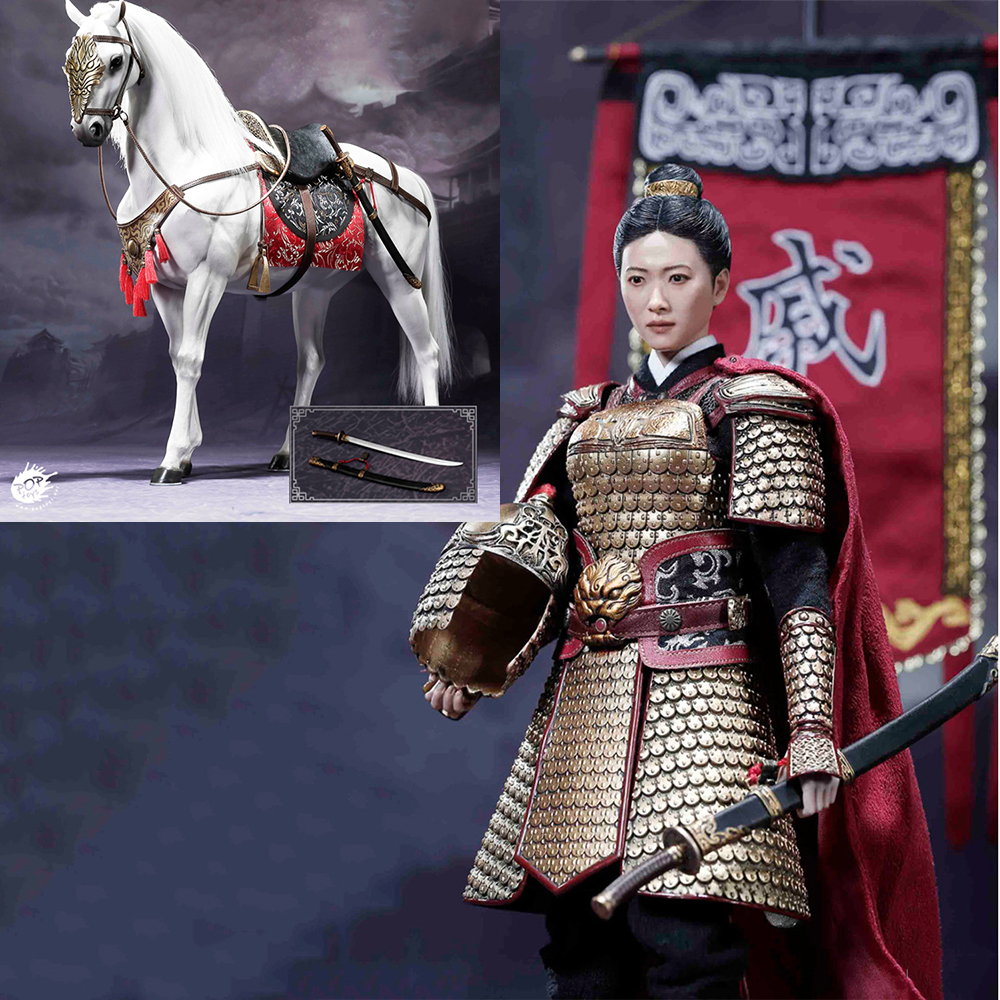 For Collection 1/6 Collectible Full Set Ancient Chinese Heroes Mrs Qi Lady Action Fgure Horse Battle Flag Accessory Fans Gifts