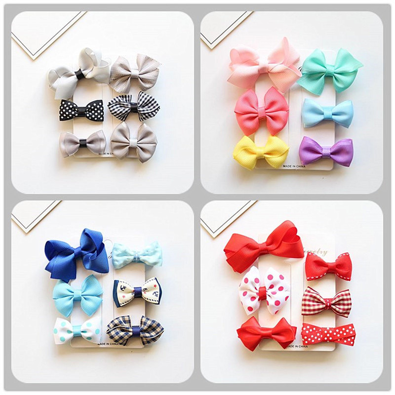 MIXIU 6pcs/set MIX Styles Lovely Bowknot Elastic Hair Bands + Hair Bow Clip Hairpin For Kids Girls Headwear Hair Accessories