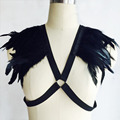 Black Feather Harness,Bondage Cage Bra,Crop Top-Cage Bralette,Body Harness,Feather bralette,BDSM Exotic Goth Lingerie Feather
