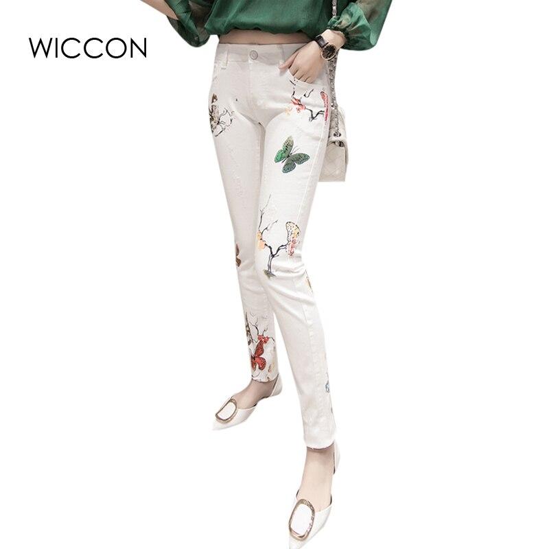 405bdfda5fd8 US $26.99 |2019 neue Herbst frauen jeans schmetterling muster blume bunte  drucke dünne dünne jeans hose mode bleistift hosen WICCON in 2019 neue ...