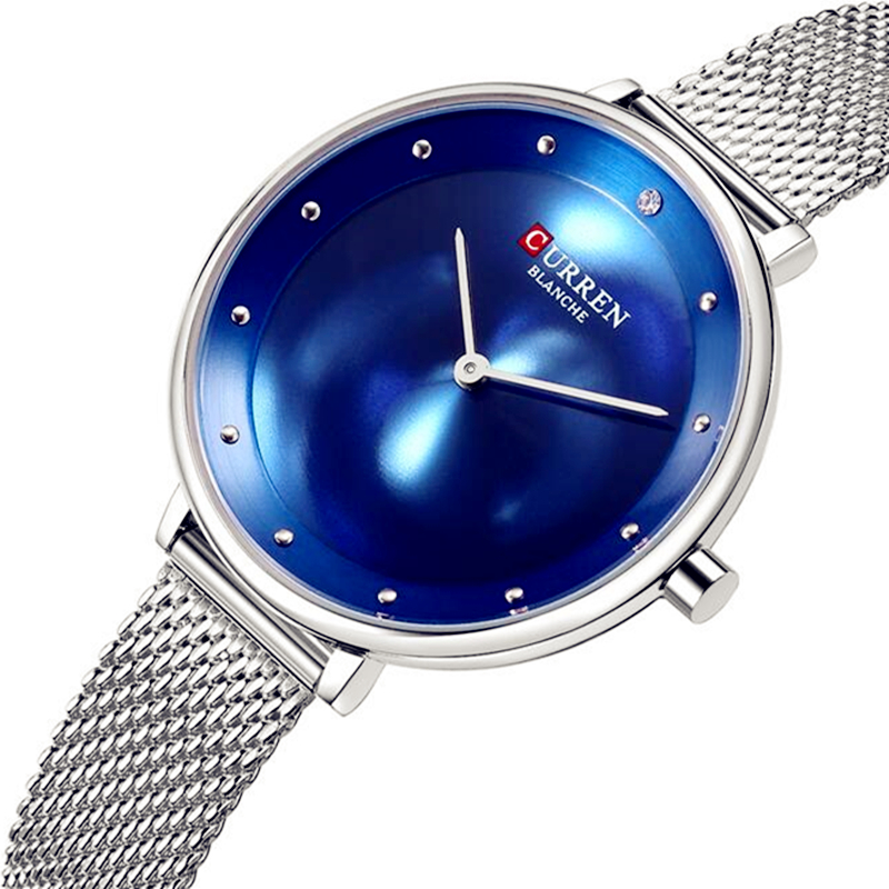 CURREN New Fashion Reloj Mujer Elegante Blue and Silver Steel Bracelet Watches Women s Dress Quartz
