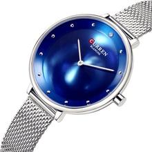 CURREN New Fashion Reloj Mujer Elegante Blue and Silver Steel Bracelet Watches  Women's Dress Quartz Wristwatch Relogio Femenino