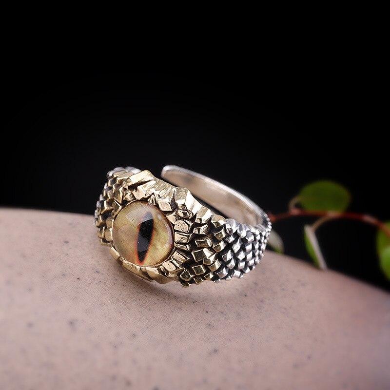 Nouveautés anneau pierre yeux de tigre bague en argent pour hommes rétro S925 bague en argent Sterling gemme verte