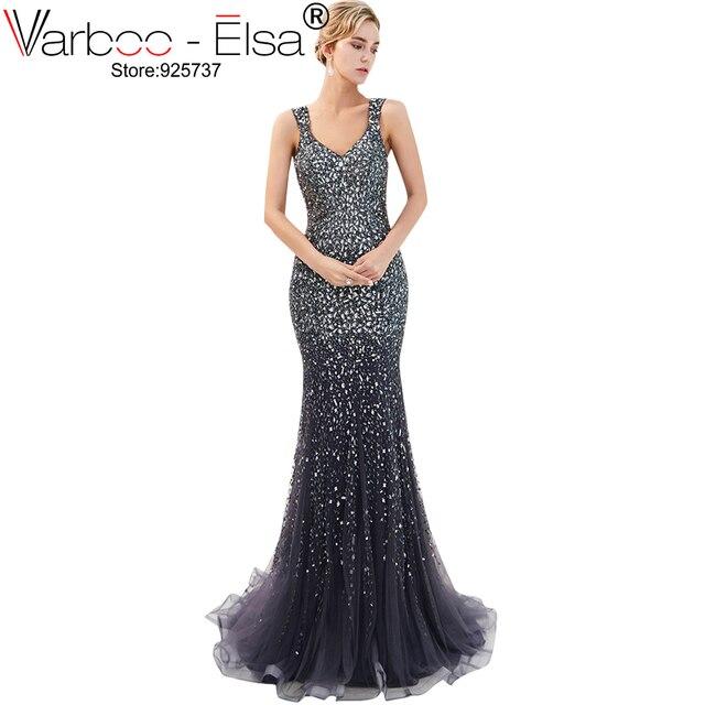 34560c51bc VARBOO ELSA lujo Dubai árabe azul sirena vestido transparente vestidos De  noche con cuentas lentejuelas vestido Formal bata De Soiree