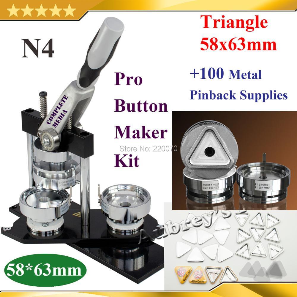 Nowy Pro N4 trójkątów kształt szerokość podstawy * wysokość 58x63mm maszyna do buttonów z guzikiem + 100 zestaw metalowe Pinback przycisk dostaw w Zestaw od Dom i ogród na  Grupa 1