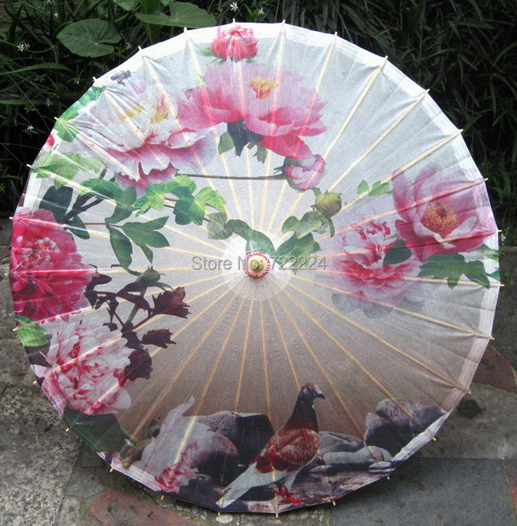 Free shipping chinese craft classical colorful peony painting oiled paper umbrella parasol decoration gift dace props umbrella