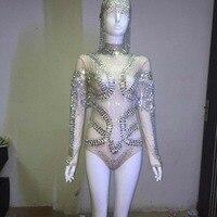 2016 Новинка сексуальное блестящее Боди Одежда для сцены кристаллы, Блестки костюм для ночного клуба вечерние Женская одежда для пения голов