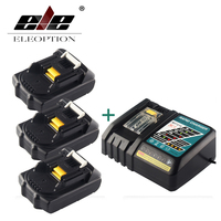 ELEOPTION 3 шт. 18 В 2000 мАч литий ионная Мощность инструмент Батарея для MAKITA 194205 3 194309 1 BL1815 + 1x 7,2 В 18 В Зарядное устройство