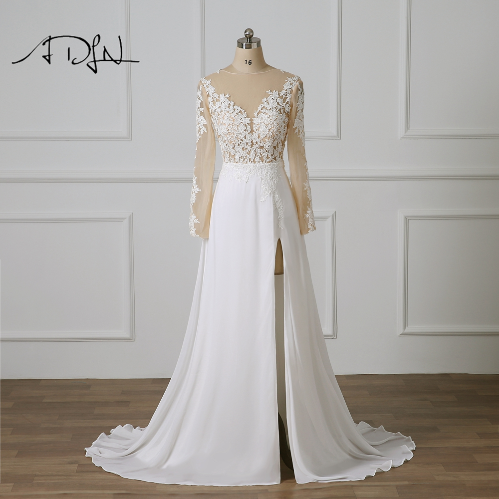ADLN Long Sleeve Wedding Dress with High Slit Vestido De Novia Scoop Sexy  Illusion Bodice Chiffon. US  84.70. ADLN Plus Size Wedding Dresses ... fc6e65924260