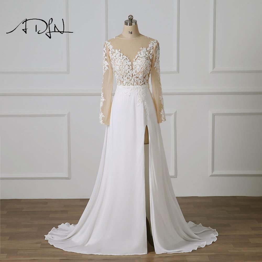 ADLN Long Sleeve Wedding Dress with High Slit Vestido De Novia Scoop Sexy Illusion Bodice Chiffon Beach Bridal Gowns Customized