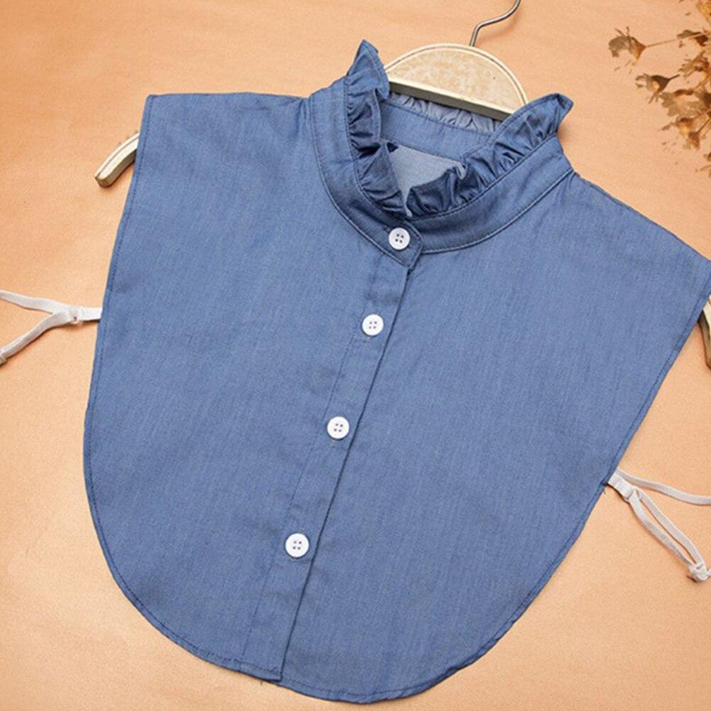 Fake Lapel Top Button Denim Tie Adjustable False Accessories Fashion Women Detachable Collar Blouse Shirt Vintage Clothes Dress