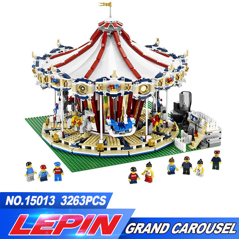 New Lepin 15013 City Sreet Carousel Model Building Kits Blocks Toy CompatibleChristmas Gift lepin 15013 city sreet carousel model building kits blocks toy compatible 10196 with funny children educational lovely gift toys