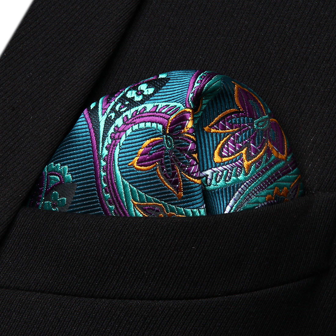 HP822Q Aqua Purple Paisley Men Silk Party Handkerchief Pocket Square Hanky
