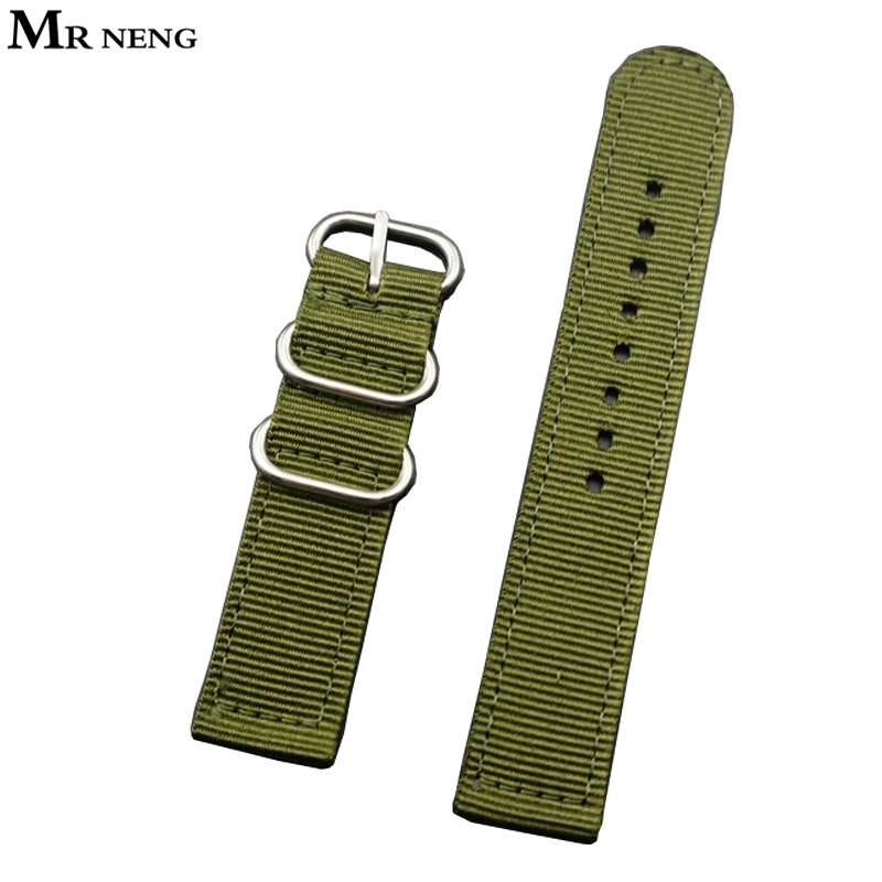 MR NENG Sport Nylon Canvas Fabric Watchband 22mm 24mm Quality Green Nylon Watch band Man Watch band Nato Strap 18mm 20mm new high quality watchband 24mm nato multicolor 4 ring nylon military diver s watch strap