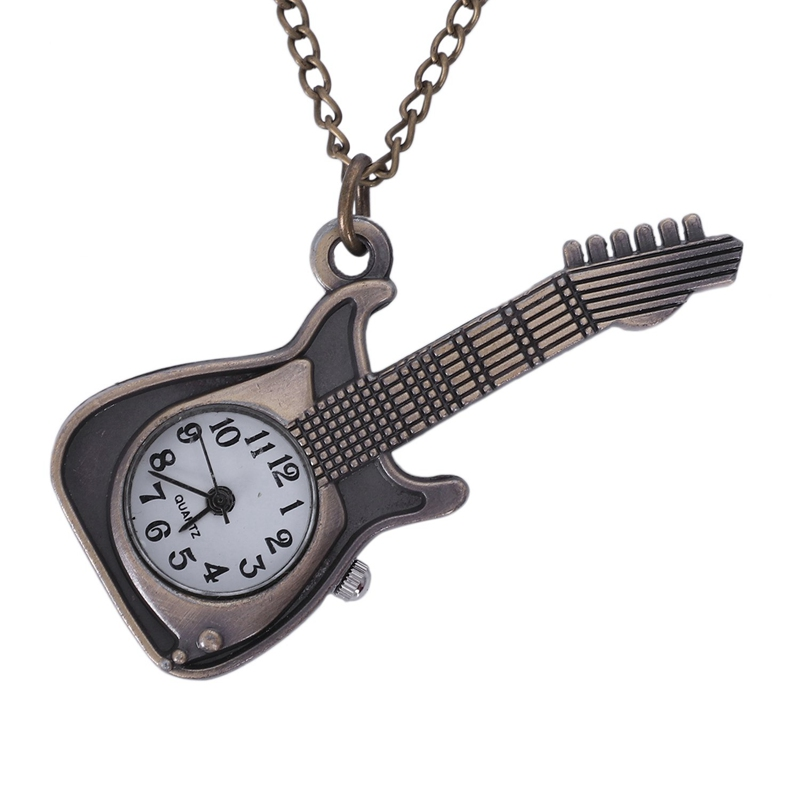 Quartz Pocket Watch Bronze Classic Violin Shape Creative Fashion Women Gifts Personality Antique Pendant Charm Watches Chain
