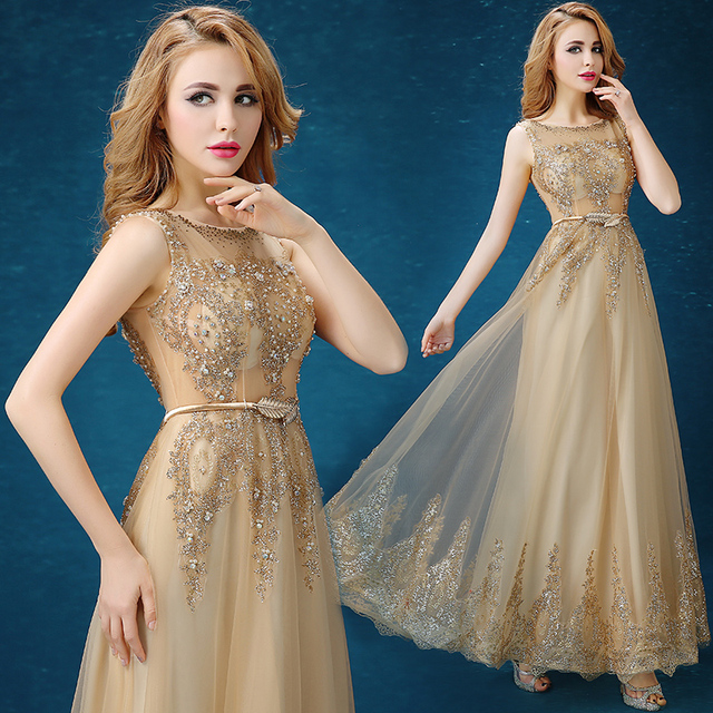 2016 New Slim Long Flowing Champagne Lace Formal Dress Qi Gold