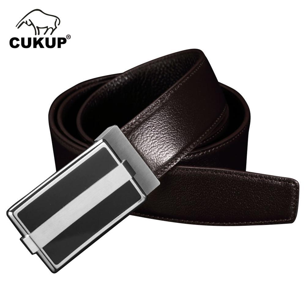 Men Fashion Automatic Buckle Black Leather Strap Dress Belt Waistband Accessory