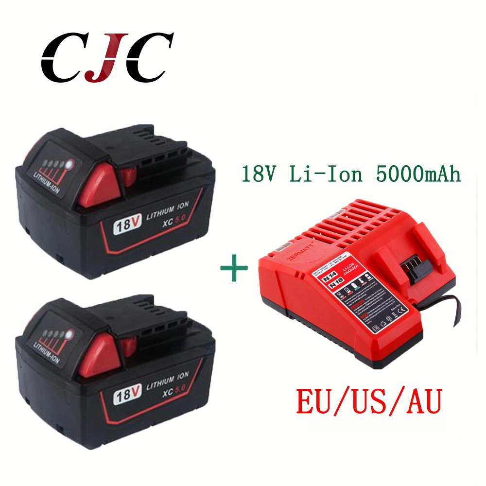 все цены на 2PCS 5000mAh 18V Li-Ion Replacement Battery for Milwaukee XC 48-11-1815 With Charger онлайн