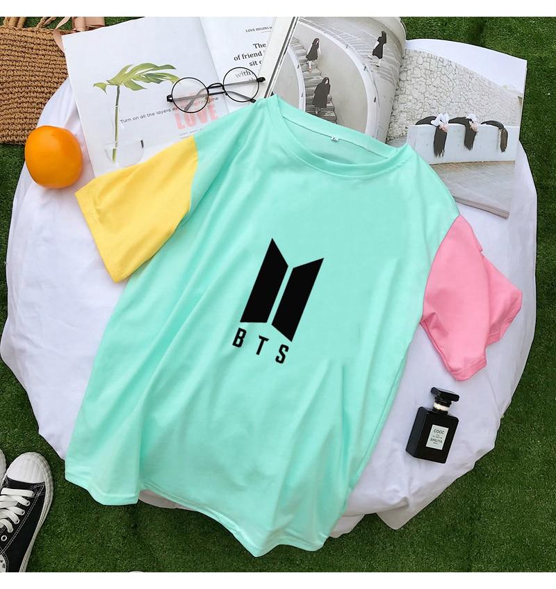 Harajuku Summer T Shirts Women Korean Kpop BTS Fashion Loose Cotton Patchwork Tee Shirt Femme Camiseta Mujer Tops Casual Clohtes (1)