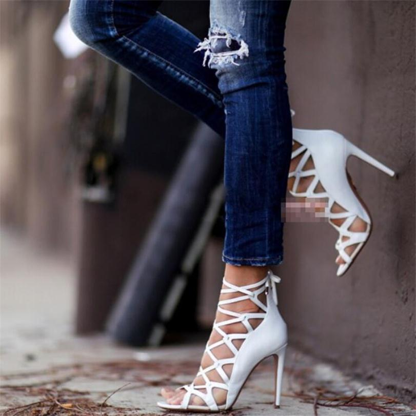 Rome Gladiator High Heels Sandals Women Sexy mesh Genova Stiletto Sandal Fashion Design Open Toe Lace Up Pumps Shoes Woman Boots brand new stiletto high heels sandals gladiator women sexy platform rome style shoes summer ladies open toe buckle pumps fashion