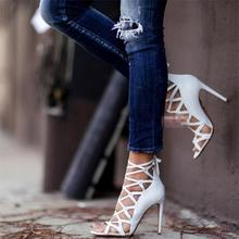Rome Gladiator High Heels Sandals Women Sexy mesh Genova Stiletto Sandal Fashion Design Open Toe Lace Up Pumps Shoes Woman Boots
