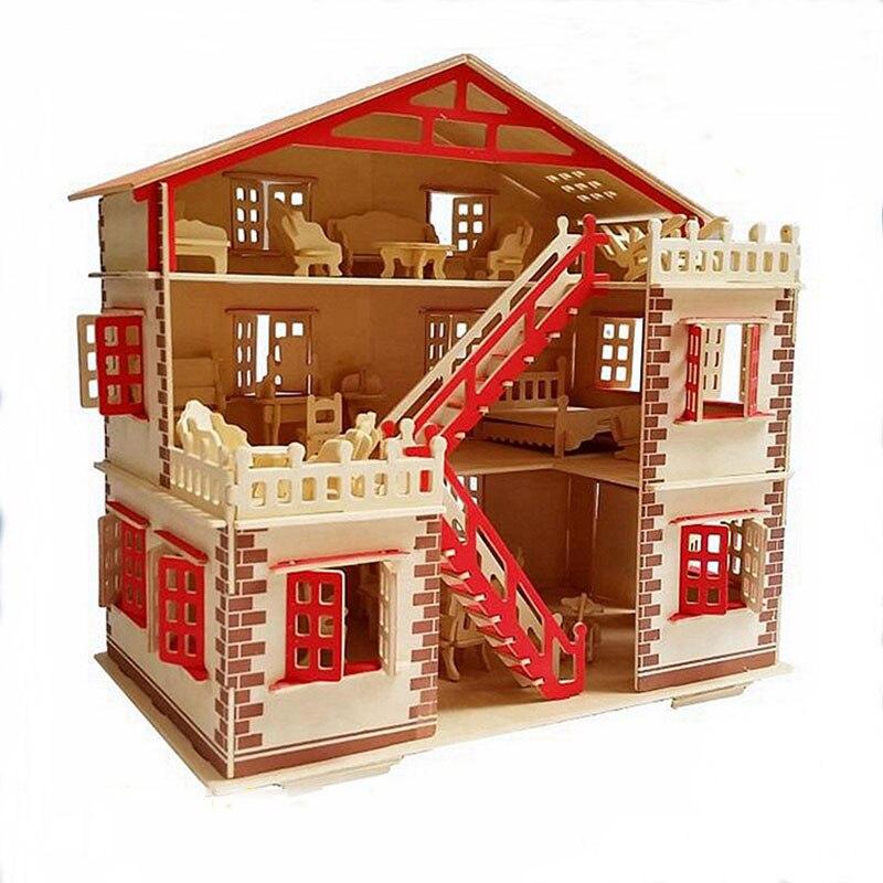 3D bricolage Puzzle modèle maison assemblage en bois jouet enfant apprentissage Construction modèle cadeau enfants maison Puzzle 3D modèle Kits cadeau