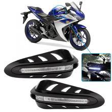 Protector Universal para manillar de motocicleta, 1 par, con luz blanca, apto para todo tipo de manillar de 22mm/28mm de diámetro